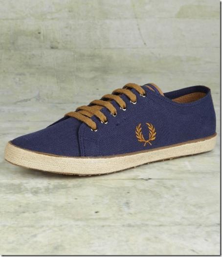 zapatillas-hombre-Fred-Perry-lona-azul-marron