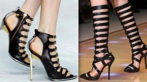 Roberto Cavalli y Versace también se han inspirado en el bestseller de E.L. James y se han sumado a esta provocativa tendencia donde reinan las sandalias bondage, el cuero, el color negro y las botas altas.