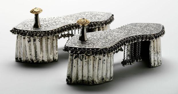 Zapatos de boda en oro y plata, India (año 1800 aprox).
