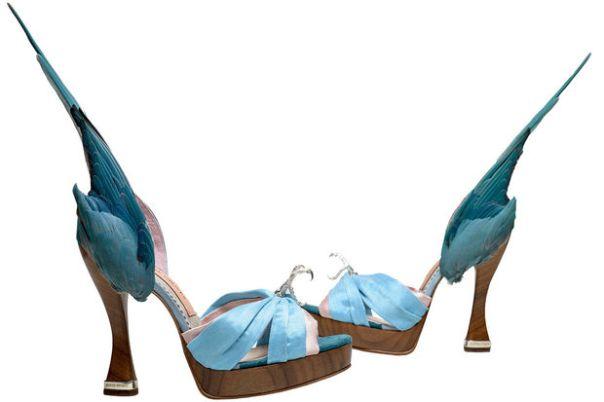 Sandalias de Caroline Groves en piel y satén de seda, 2014.