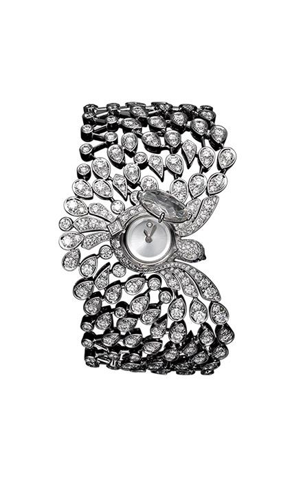 Reloj secreto de Alta Joyería, en oro blanco, un diamante de 2,89 quilates, brillantes y ojos de zafiros (c.p.v.), de Cartier.