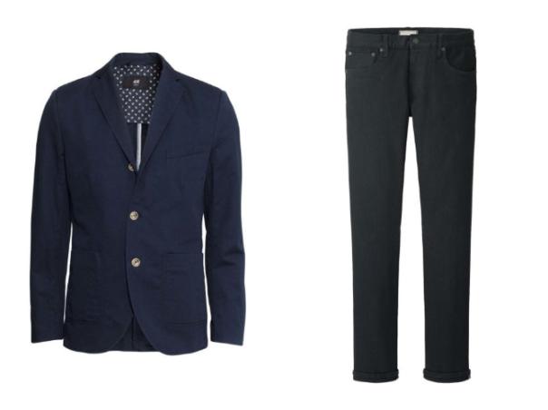 Sí, aquí, estamos considerando jeans negros que son siempre ligeramente distintos a la idea de los blue jeans. Eso es porque se ven mucho más cool y, de hecho, mucho más formales, siempre y cuando se apegue a negro puro y no versiones deslavadas o rotas. Nuestro look perfecto son los jeans negros y chaqueta azul marino