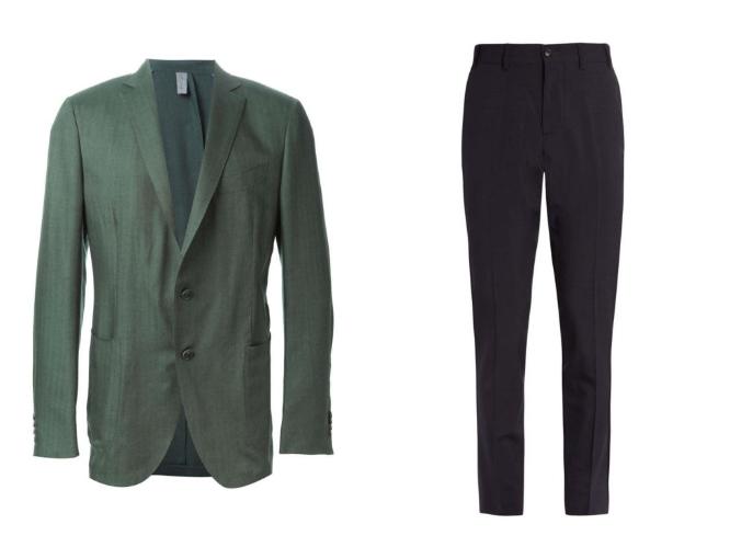 Tus viejos pantalones a rayas + blazer, no funcionan más para conseguir este look. Se trata de pantalones realmente adecuados, el tipo suit pant es la mejor opción para este look. Buscar un color azul marino o incluso uno en negro, es lo mejor para combinar con color verde. Asegúrate de usar una camisa blanca.