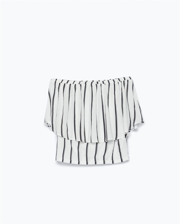 Blusón a rayas con escote bardot de Zara
