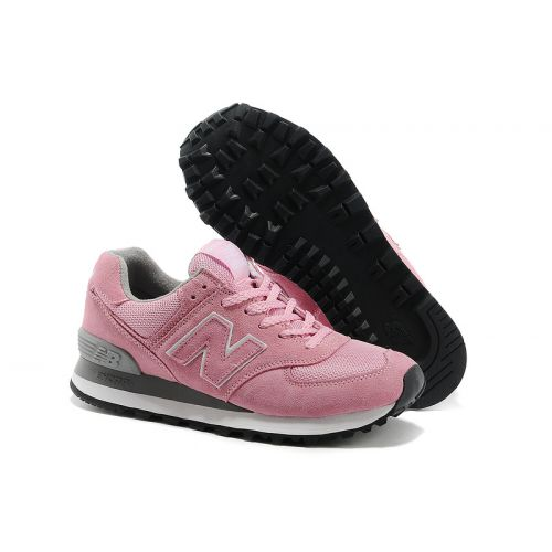 New Arrive New Balance 574 Women Pink Gray Sports Shoes